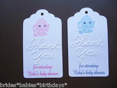 10 Kraft Gift Tags Bomboniere Baby Shower Favour Personalised Girl Boy Pink Blue