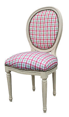French Louis Side Chair White Red Tartan Shabby Chic Bedroom Antique Dressing