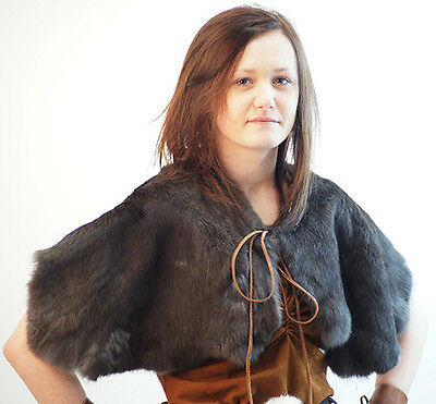 Medieval/LARP/Re enactment-Viking-Ladies-GREY RABBIT FUR SHOULDER CAPE One Size