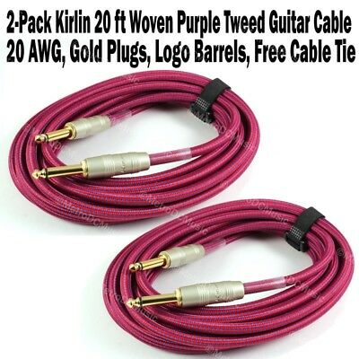 2-Pack Kirlin 20 ft Woven Guitar Instrument Cable Purple Tweed Cord +Free Tie