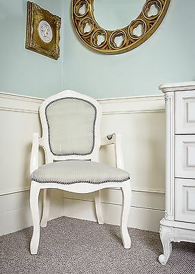 French Louis Armchair White Green Shabby Chic Antique Style Bedroom Hall Carver