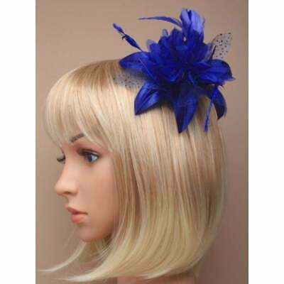 Royal blue fascinator with satin flower, petals and feathers on hair comb