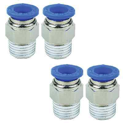 """1/8"""" BSP Male to 6mm Pack of 4 Straight Push In Pneumatic Fitting 1/8""""-6mm Stud"""