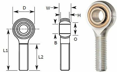 10mm Male Rod End Bearing, Right Hand Thread M10X1.50, 10mm Rose Joint R/Hand