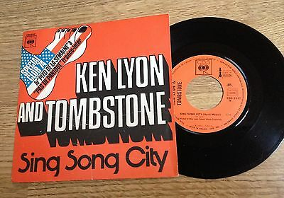 "French 7"" picture sleeve Ken Lyon and Tombstone Sing song city country blues EXC"