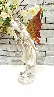 Large 36cm Fairy Angel Outdoor Garden Figurine Ornament Stone Effect Statue
