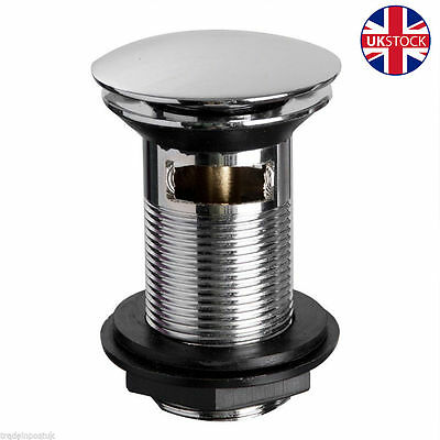 Chrome Basin Sink Tap Push Button Pop Up Waste Plug P15 Slotted