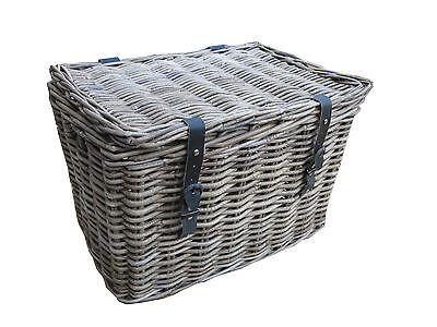 Grey & Buff Rattan Wicker Chest Trunk Storage Basket Small Large With Lid Lidded