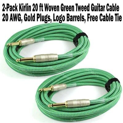 2-Pack Kirlin 20 ft Woven Guitar Instrument Cable Green Tweed Cord +Free Tie