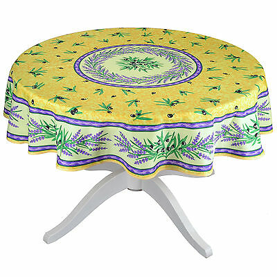"Matisse Yellow French Provencal Tablecloth - 63"" Round"