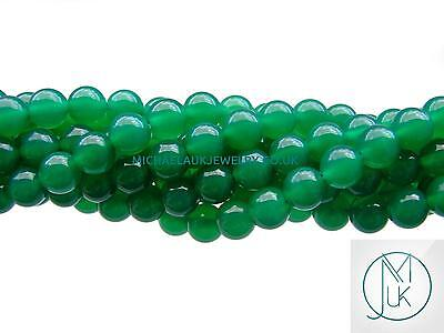 Green Onyx Natural Dyed Gemstone Round Beads 8mm Jewellery Making (47-50 Beads)