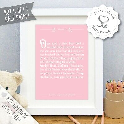 Personalised New Baby Print Birth Details Once Upon a Time Christening Gift Art