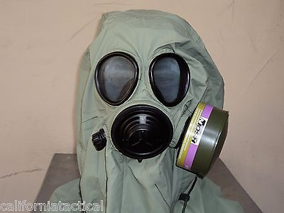 Military 40mm/NATO Gas Mask w/Drink Port & NBC/CBRN Filter, Hood, Carry Pouch
