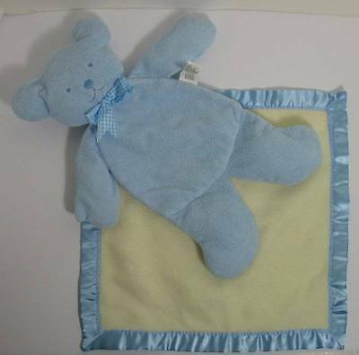 Blue PANCAKE Bear Lovey with Security Blanket North American Bear Company EXC