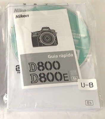 Original Nikon D800 D800E User's Manual (Spanish) and ViewNX2 CD
