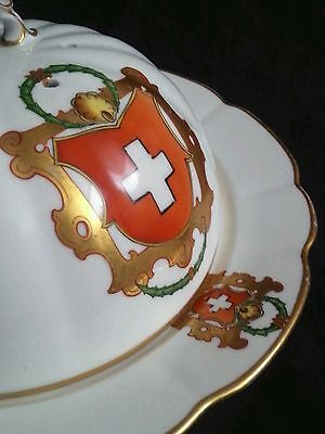 Antique Saxe porcelain gilded cheese dish Swiss Coat of Arms, domed lid