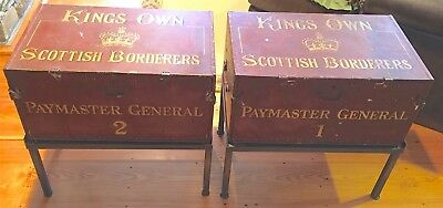 Antique Scottish Painted Metal-Clad Trunks | End Lamp Tables | (pair)