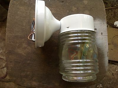 Jelly Jar Porch Wall Lamp Fixture, Takes Standard Screw-in Bulb, glass and metal