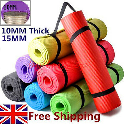 YOGA MAT EXERCISE FITNESS AEROBIC GYM PILATES CAMPING NON SLIP 10/15mm THICK BM