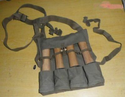 WWII China HAND GRENADE FOUR STICK 3522 type POUCH- 1956s Army