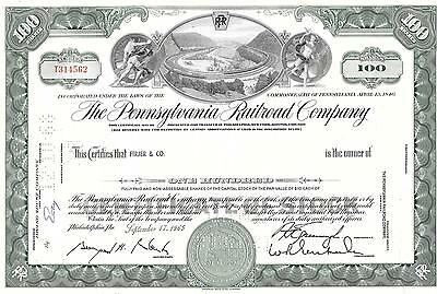 Pennsylvania Railroad Co. - Two Stock Certificate. - 1960's - By ABNC - XF