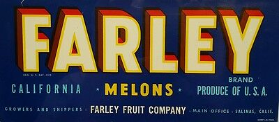 Vintage Fruit Crate Lug Box Label Farley Brand California Melons