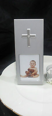 Christening Baptism Communion Silver Diamante Cross Frame Bomboniere Favour