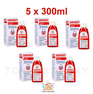 5 x LACALUT Aktiv Mouthwash Everyday Prevention from Gum Infection Plaque Caries