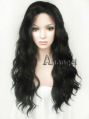 Fashion Sexy Women Black Synthetic Lace Front Wig Long Curly Heat Resistant Hair
