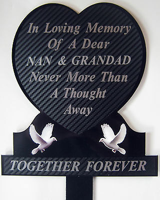 Memorial Plaque Grave Heart Personalised NAN & GRANDAD In Loving Memory