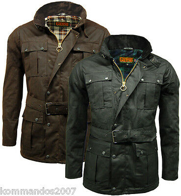 Game Men Continental Belted Wax Jacket Cotton Motorcycle Biker Waterproof Coat