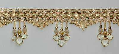 Braid beaded 3 Heart Shape Fringe trimming #1 Colour : Gold