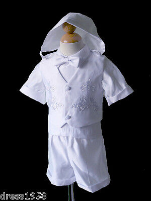 Boys  Infant Toddler Christening Baptism White Outfit, Sz: S, M, L, XL, 2T,3T,4T