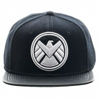 Official Marvel Comics Agents Of Shield Symbol Black Snapback Cap (Brand New)