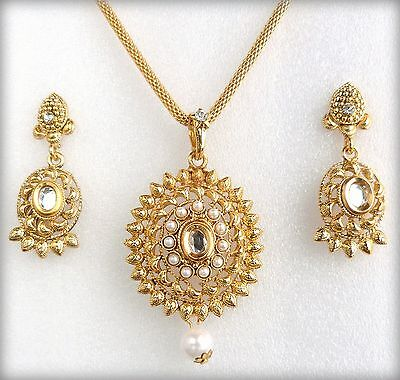 Indian Bollywood Pearls Gold Plated Chain Pendant Necklace Jewelry Earring Set