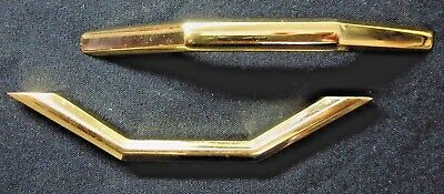 "1 vintage 60s retro polished shiny solid brass drawer pull handle 4-7/8 3-3/4""CC"