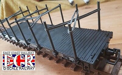 G SCALE 45mm GAUGE FLATBED, UPRIGHTS & BLUE BANDS RAILWAY TRUCK TRAIN FLAT BED
