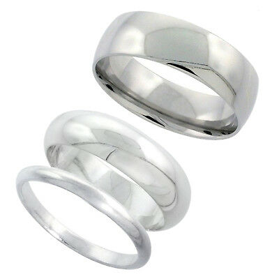 Sterling Silver Plain Band Comfort Fit Ring Solid 925 -3mm,17.3mm PK