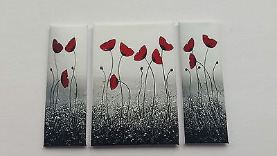 Handmade Miniature Dolls House Accessory Canvas Style Wall Art Picture Poppies 5