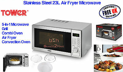 Tower 23L Multi-Function Stainless Sl Air Fryer Microwave Combination Oven Grill