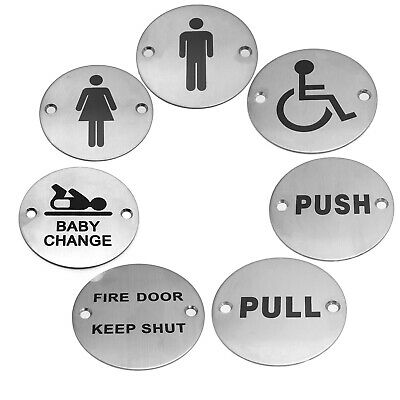 Stainless Steel Door Signs - Push Pull Disabled Fire Door Keep Shut Mens Ladies