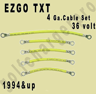 EZGO TXT Golf Cart Car 36 Volt 4 Gauge HEAVY DUTY YELLOW Battery Cable Set