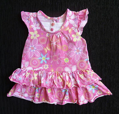 Baby clothes GIRL 3-6m pink frill floral soft cotton dress COMBINE POST SEE SHOP