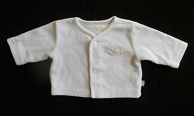 Baby clothes UNISEX BOY GIRL premature/tiny<7.5lbs/3.4kg white velour cardigan
