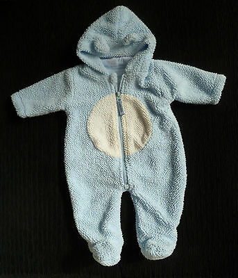 Baby clothes BOY 0-3m Babytime blue/white fleece pramsuit cotton-lining SEE SHOP