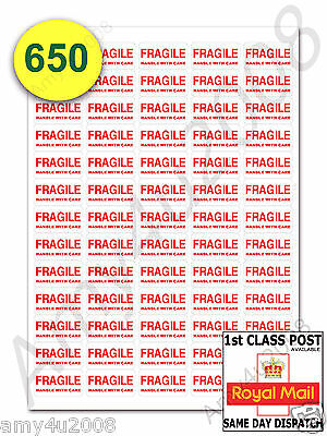 650 x FRAGILE STICKERS HANDLE WITH CARE SMALL Labels ✔FAST✔FREE DELIVERY
