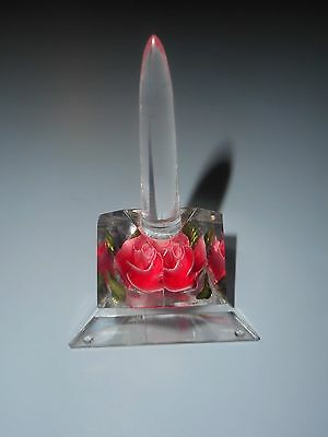 Vintage Small Lucite Ring Tree With Flower Rose.