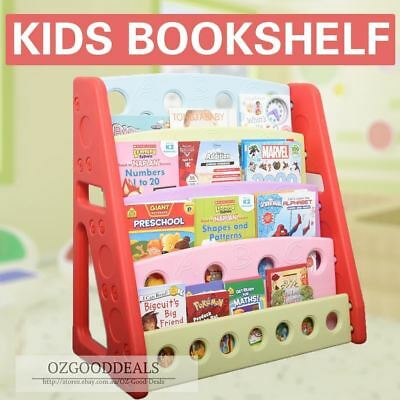 Kids Children Library Study Playroom Colourful Plastic Bookshelf For Toys Books