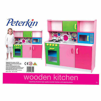 Kids Wooden Kitchen Pretend Role Play Set Toy Children Cooking Cookware Oven