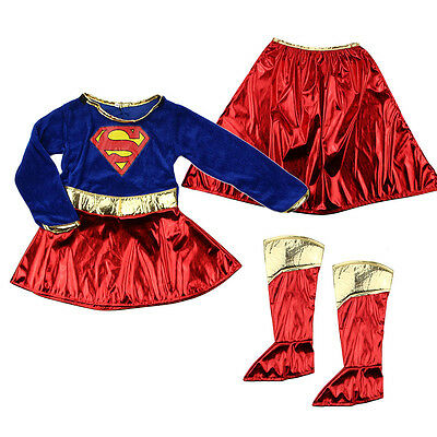Kid Girls Supergirl Costume Superhero Fancy Dress Party Outfit Cover Book Day